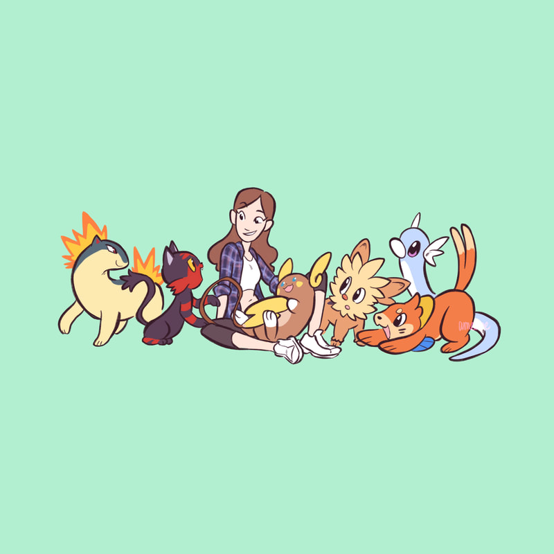 A drawing of Riley J. Dennis surrounded by Pokemon.